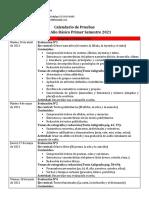 Calendario de Pruebas 3° Básico S1 2021