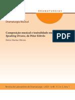 Composição Musical e Teatralidade Em Speaking Drums, De P. Eötvös (Martins Oliveira, 2016)