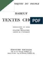 Babeuf, Textes choisis, introduction et notes par Claude Mazauric, Paris