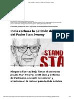 India rechaza la petición de fianza del Padre Stan Swamy
