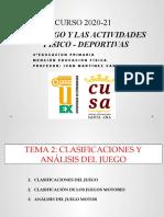 TEMA 2 CLASIFICACIONES DEL JUEGO