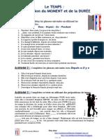 Le Temps La Duree Et Le Moment Exercice Grammatical Feuille Dexercices 79559