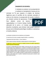 PROCESO DE FAENAMIENTO DE BOVINOS