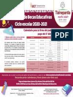 Calendario pago cuarto bimestre becas Tlalnepantla 2020-2021
