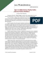 To Build Bridges in Afghanistan, Deploy India-