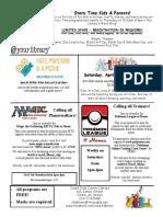 4.2021 April Kids Newsletter Flyer