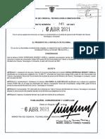 Decreto 345 Del 6 de Abril de 2021. Nombramiento Ana María Aljure. Presidencia