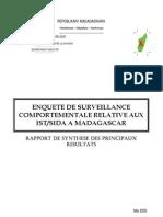Enquête de survéillance comportementale relative aux IST/SIDA à Madagascar - Rapport de synthèse des principaux résultats (CNLS - 2005)