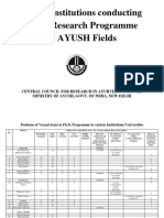 List of Institutions Conducting Ph.D. Research Programme in AYUSH Fields