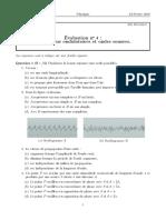 Évaluation n° 4 - Phénomènes ondulatoires et ondes sonores - (24-02-2014)