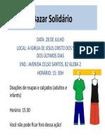 Bazar Solidário CARTAZ