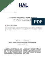La Lettre II Attribuee a Platon Et Les t