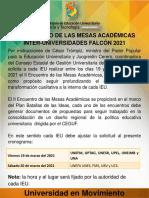 II ENCUENTRO DE LAS MESAS ACADÉMICAS INTER-UNIVERSIDADES FALCÓN 2021