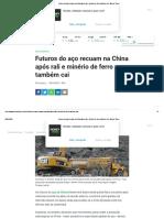 Futuros do aço recuam na China após rali e minério de ferro também cai