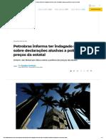 Petrobras informa ter indagado ministério sobre declarações alusivas a política de preços da estatal
