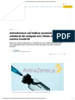 AstraZeneca vai indicar possível efeito colateral de coágulo em rótulo de vacina contra Covid-19
