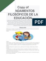 FUNDAMENTOS FILOSÓFICOS DE LA EDUCACIÓN