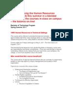 Bachelor of Technology Program Bulletin for Blended 1HR3 Delivery
