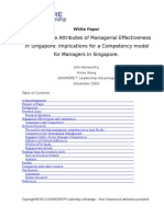Managerial Effectiveness in Singapore