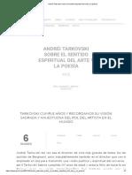 Andréi Tarkovski sobre el sentido espiritual del arte y la poesía