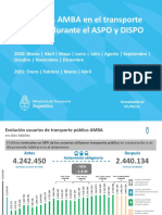 Usuarios AMBA en el transporte público durante el ASPO y DISPO