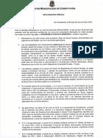 DECLARACION PUBLICA, MUNICIPALIDAD DE CONSTITUCIÓN