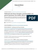 Politização das Forças Armadas e promiscuidade com governo gestaram crise inédita, dizem especialistas - 30_03_2021 - Poder - Folha