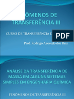 Aula 5 - Análise de Transferência de Massa em Sistemas Simples
