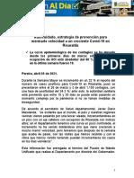 Autocuidado, estrategia de prevención para mermarle velocidad a un creciente Covid-19 en Risaralda