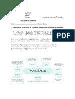 Guia Tipos de Materiales Tecnologia Tercero Basico