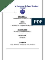 DEFINICIÓN DE MEDIDAS DE TENDENCIA CENTRAL WENDIS FERRERAS