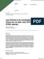 Les Oromo à la conquête du trône du roi des rois _(XVIe-XVIIIesiècle_)