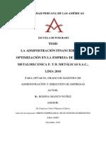 LA ADMINISTRACIÓN FINANCIERA Y LA OPTIMIZACIÓN EN LA EMPRESA DE SERVICIO METALMECÁNICA F. Y D. METÁLICAS S.A.C., LIMA 2018