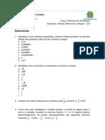 Lista 1 - números reias, valor absoluto, equações e inequações - Sistemas CDI