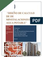 DISEÑO DE CALCULO DE DE MINSTALACIONES DE AGUA POTABLE