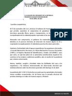 Mensaje a la Nación del presidente de la República, Francisco Sagasti.