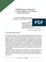 """Weinberg de Magis, Liliana. (1994). """"La Identidad Como Traducción. El Itinerario Del Calibán en El Ensayo Latinoamericano""""."""