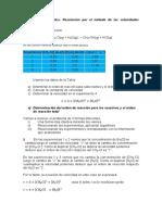 Ejercicio Resuelto de Cinética Química. Metodo de Velocidades Iniciales