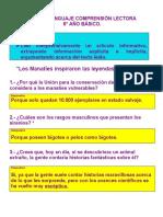 CORRECCIÓN DEGUÍA DE LENGUAJE COMPRENSIÓN LECTORA