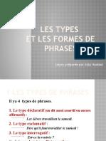 Les Types Et Les Formes de Phrases Lesson20!04!2020