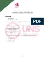 Convocatoria admision UNS
