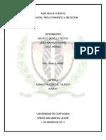 Análisis de Puestos, Planeación, Reclutamiento y Selección