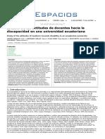 actitudes de docentes ecuatorianos hacia la discapacidad 2019
