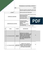 PROGRAMA DE AUDITORIAS 2020 INTERNAS DEL SISTEMA DE GESTION INTEGRADO