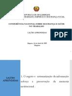 Licoes Aprendidas Conferencia HST  2019-Maputo final