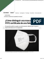 ¿Cómo distinguir una mascarilla FFP2 certificada de una falsificada?
