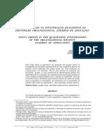Grupos Focais na Investigação Qualitativa da Identidade Organizacional