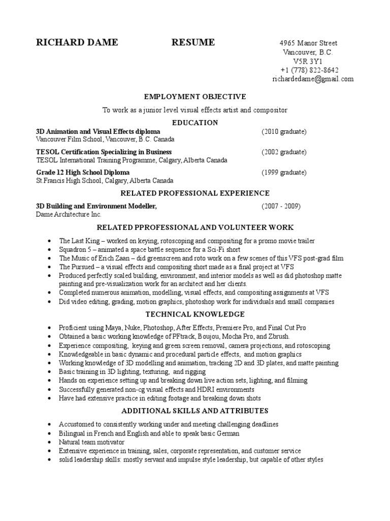 Updated Richard Dame 2 Page VFX Resume | 3 D Computer Graphics | Art ...