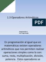 1.4 Operadores Aritméticos