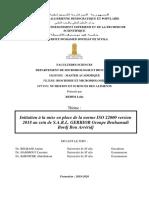 Initiation à la mise en place de la norme ISO 22000 version 2018 au sein de S.A.R.L. GERBIOR Groupe Benhamadi Bordj Bou A_1